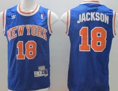 New York Knicks #18 Phil Jackson Blue Throwback Stitched NBA Jersey