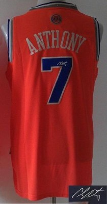 Revolution 30 Autographed New York Knicks #7 Carmelo Anthony Orange Stitched NBA Jersey