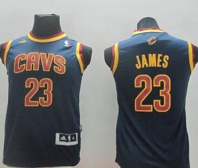 Revolution 30 Cleveland Cavaliers #23 LeBron James Dark Blue Stitched Youth NBA Jersey