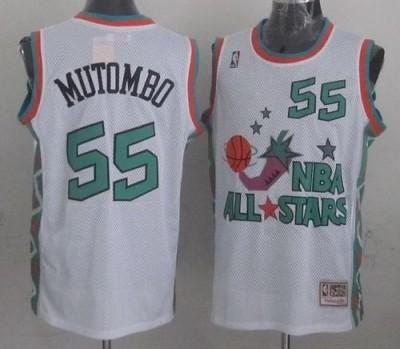 Mitchell And Ness Denver Nuggets #55 Dikembe Mutombo White 1996 All star Stitched NBA Jersey