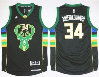 Milwaukee Bucks #34 Giannis Antetokounmpo Black Alternate Stitched NBA Jersey