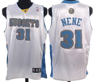 Denver Nuggets #31 Nene Hilario Stitched White NBA Jersey