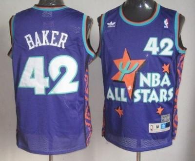 Milwaukee Bucks #42 Vin Baker Purple 1995 All Star Throwback Stitched NBA Jersey
