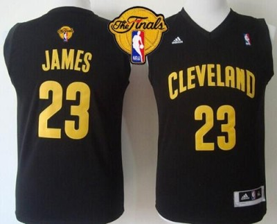Revolution 30 Cleveland Cavaliers #23 LeBron James Black The Finals Patch Stitched Youth NBA Jersey