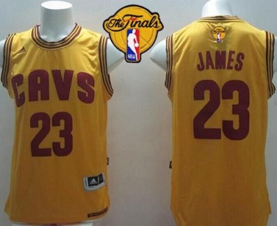 Revolution 30 Cleveland Cavaliers #23 LeBron James Yellow Alternate The Finals Patch Stitched NBA Jersey