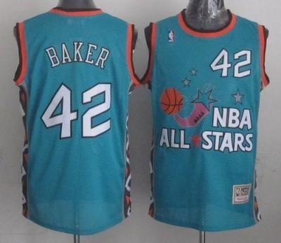 Mitchell And Ness Milwaukee Bucks #42 Vin Baker Light Blue 1996 All star Stitched NBA Jersey