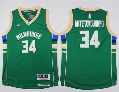 Milwaukee Bucks #34 Giannis Antetokounmpo Green Stitched Youth NBA Jersey
