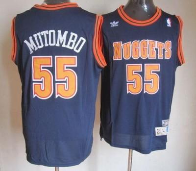 Denver Nuggets #55 Dikembe Mutombo Dark Blue Swingman Throwback Stitched NBA Jersey