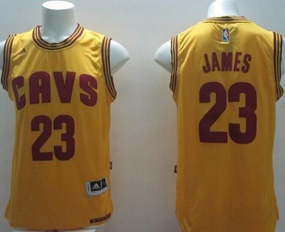 Revolution 30 Cleveland Cavaliers #23 LeBron James Yellow Alternate Stitched NBA Jersey