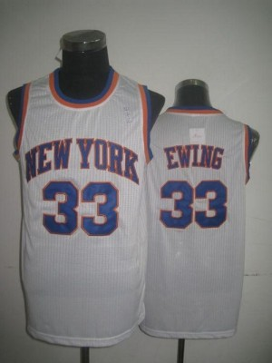 New York Knicks #33 Patrick Ewing White Throwback Stitched NBA Jersey