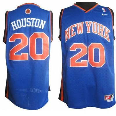 New York Knicks #20 Allan Houston Blue Throwback Stitched NBA Jersey