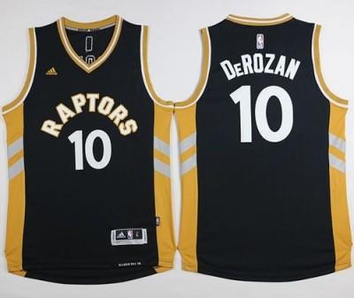 Toronto Raptors #10 DeMar DeRozan Black Gold Stitched NBA Jersey