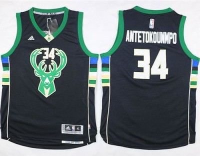 Milwaukee Bucks #34 Giannis Antetokounmpo Black Stitched Youth NBA Jersey