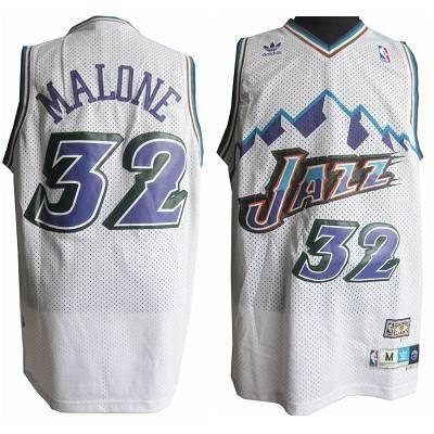 Utah Jazz #32 Karl Malone White Throwback Stitched NBA Jersey