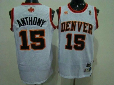 Denver Nuggets #15 Carmelo Anthony White Swingman Throwback Stitched NBA Jersey