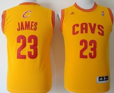 Revolution 30 Cleveland Cavaliers #23 LeBron James Gold Stitched Youth NBA Jersey