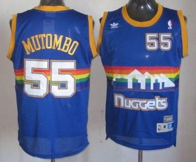 Denver Nuggets #55 Dikembe Mutombo Light Blue Throwback Stitched NBA Jersey