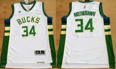 Milwaukee Bucks #34 Giannis Antetokounmpo White Revolution 30 Stitched NBA Jersey