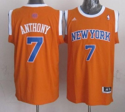 Revolution 30 New York Knicks #7 Carmelo Anthony New Orange Alternate Stitched NBA Jersey