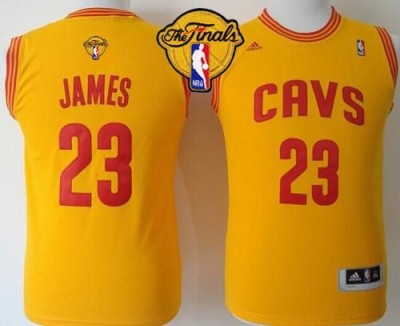 Revolution 30 Cleveland Cavaliers #23 LeBron James Gold The Finals Patch Stitched Youth NBA Jersey
