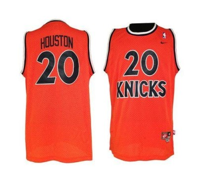 Nike New York Knicks #20 Allan Houston Orange Throwback Stitched NBA Jersey