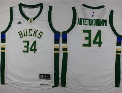 Milwaukee Bucks #34 Giannis Antetokounmpo White Stitched Youth NBA Jersey