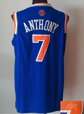 Revolution 30 Autographed New York Knicks #7 Carmelo Anthony Blue Stitched NBA Jersey