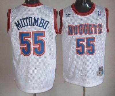 Denver Nuggets #55 Dikembe Mutombo White Swingman Throwback Stitched NBA Jersey