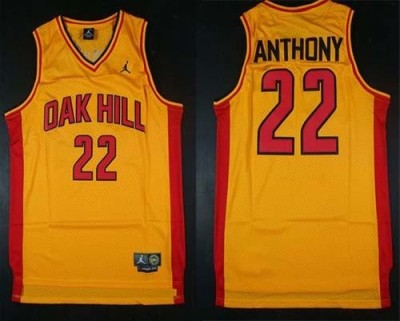 New York Knicks #22 Carmelo Anthony Gold Oak Hill Academy High School Stitched NBA Jersey