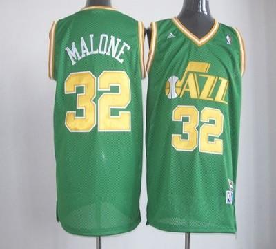 Utah Jazz #32 Karl Malone Green Throwback Stitched NBA Jersey
