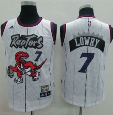 Toronto Raptors #7 Kyle Lowry White Throwback Youth Stitched NBA Jersey