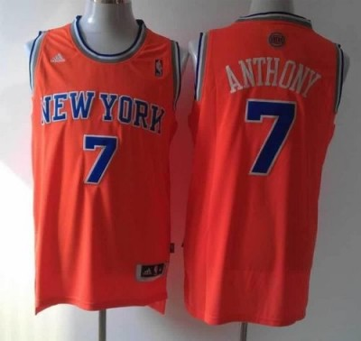 Revolution 30 New York Knicks #7 Carmelo Anthony Orange Alternate Stitched NBA Jersey