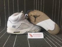 Authentic Air Jordan 5 Retro GS White silver