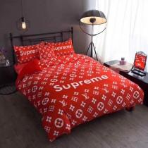 Supreme x LV Authentic Beddings 4pcs Red