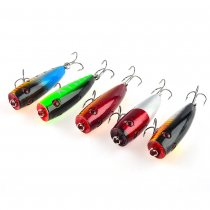 Pack of 5 Topwater Popper Floating Trolling Fishing Lures Hard Baits Hook Tackle for Freshwater & Saltwater