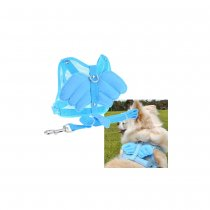 Angel Wing Pet Dog Cat Mesh Harness with Leash - Blue (Size S)