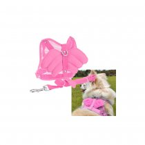 Angel Wing Pet Dog Cat Mesh Harness with Leash - Pink (Size S)