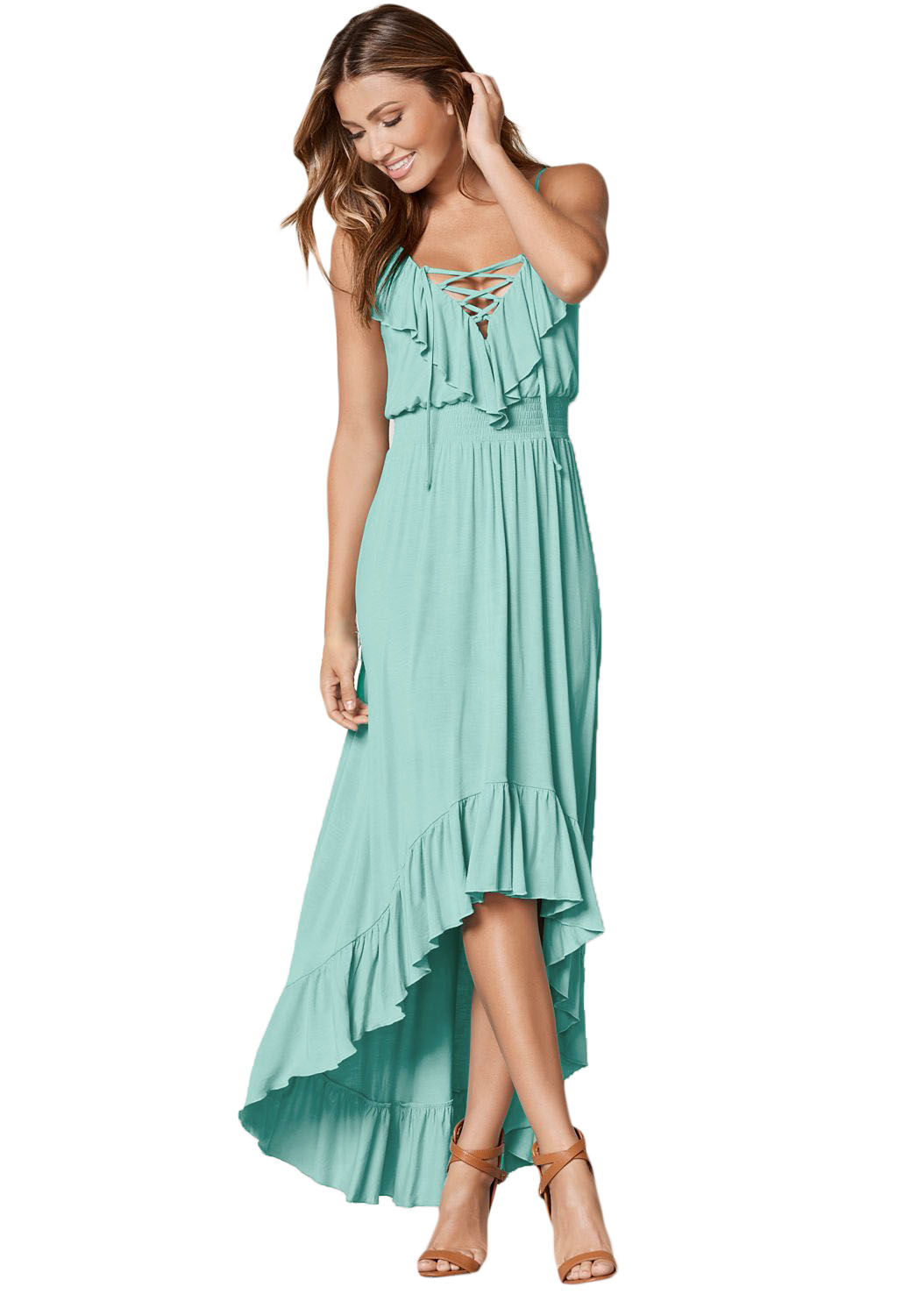 US$37.75 Zkess Mint Green Lace Up V Neck Ruffle Trim Hi-low Maxi Dress