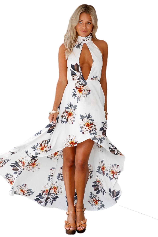 Us3025 Zkess White Floral Print High Low Halter Maxi Boho Dress
