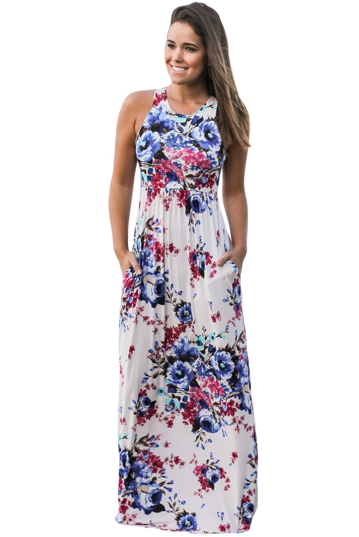 Us2893 Zkess White Floral Print Sleeveless Long Boho Dress