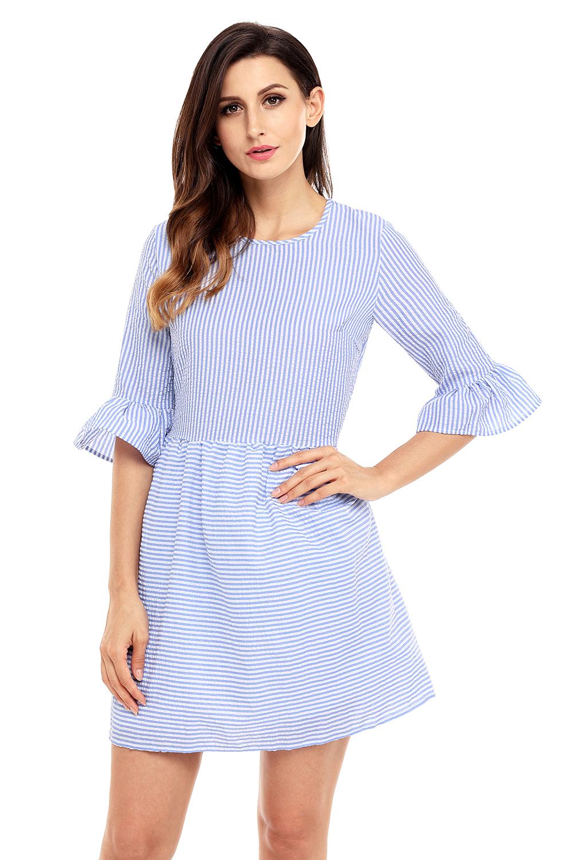 US$24 Zkess Navy White Stripe Flounce Sleeve Seersucker Dress