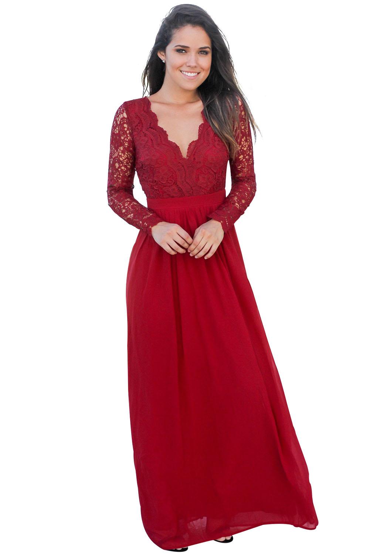 US$34.5 Zkess Red Open Back Long Sleeve Crochet Maxi Party Dress