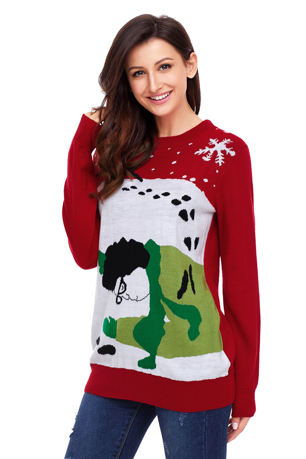 red got run over by reindeer christmas sweater item no lc27810 3 - Reindeer Christmas Sweater