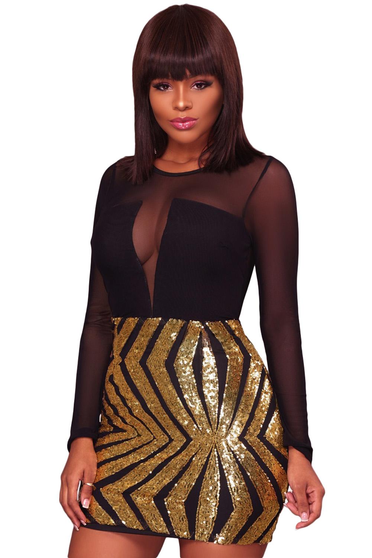 US$25.23 Zkess Black Sheer Mesh Long Sleeve Gold Sequin Club Dress