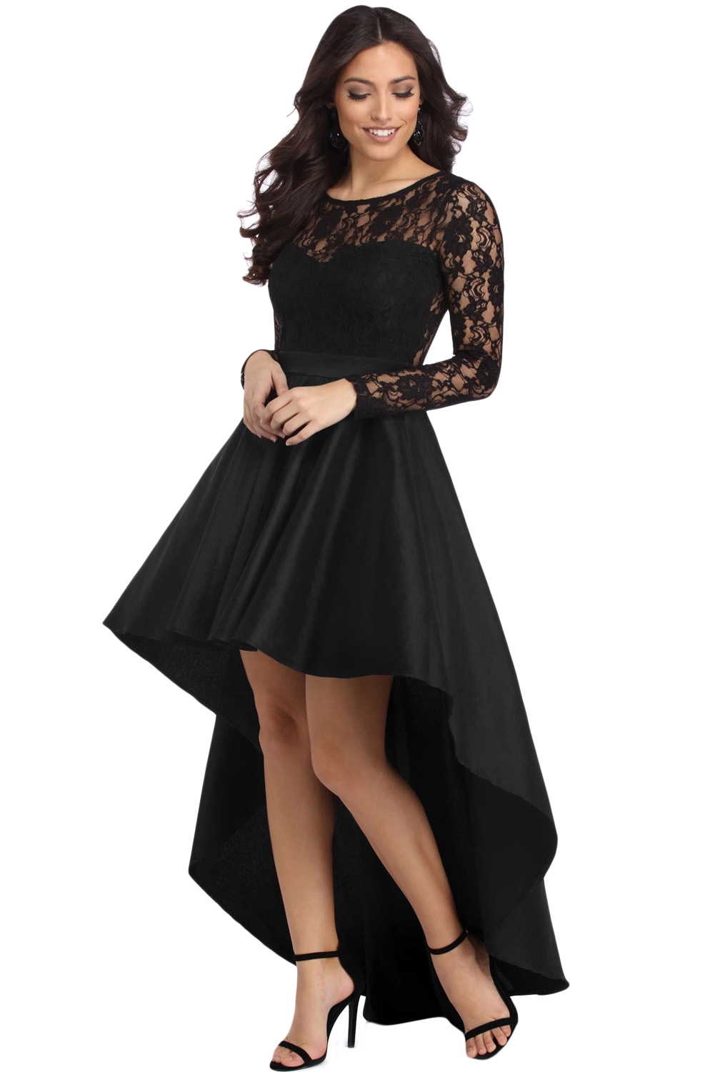 US$26.5 Zkess Black Long Sleeve Lace High Low Satin Prom Dress