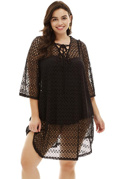 Us2275 Zkess Black Crochet Lace Up Plus Size Cover Up