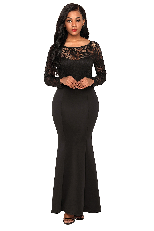 US$40 Zkess Black Lace Long Sleeve Bow Back Maxi Dress