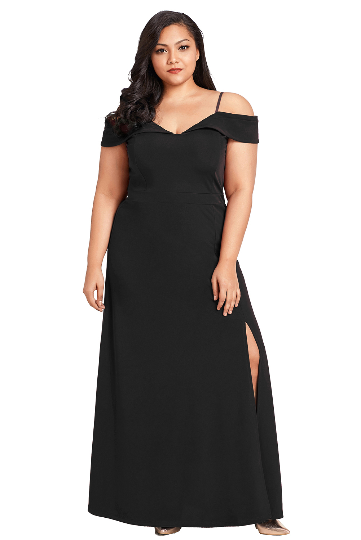 US$26 Zkess Black Long Off the Shoulder Plus Size Gown