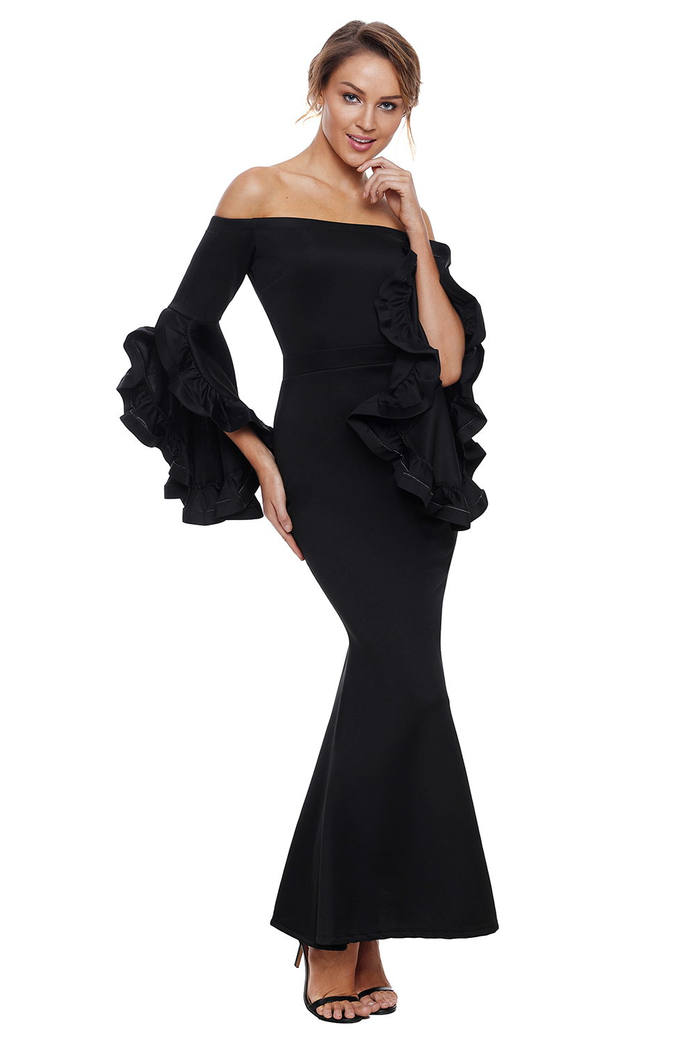 US$40.25 Zkess Black Off Shoulder Pleated Bell Sleeves Party Evening ...