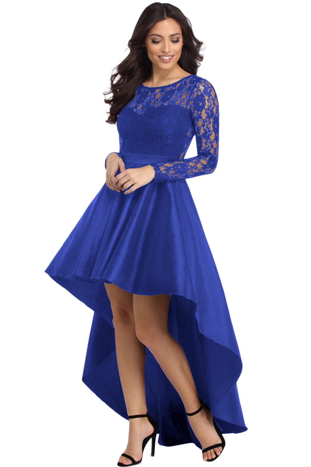 US$26.5 Zkess Royal Blue Long Sleeve Lace High Low Satin Prom Dress